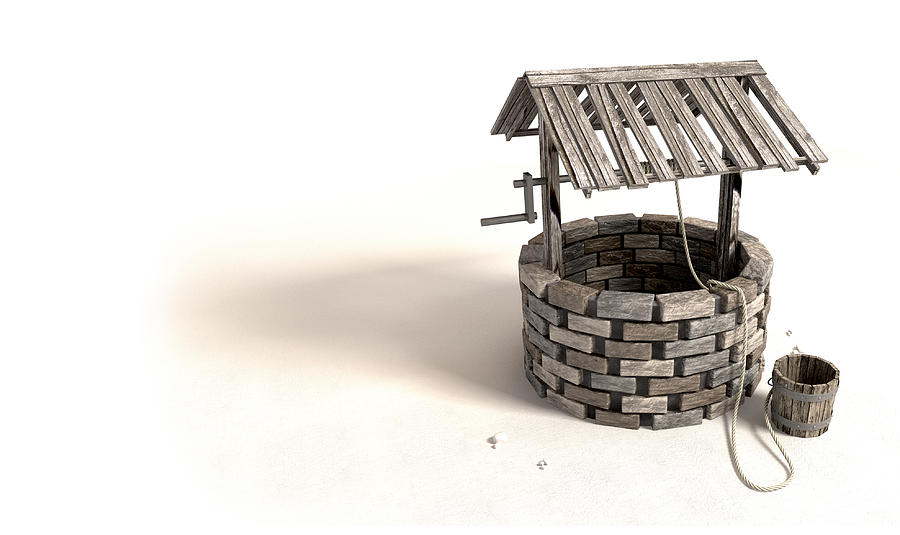 Wishing Well With Wooden Bucket And Rope Digital Art