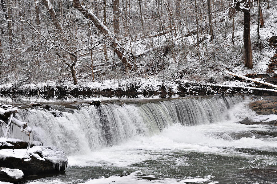 Wissahickon Waterfall In Winter Photograph  - Wissahickon Waterfall In Winter Fine Art Print
