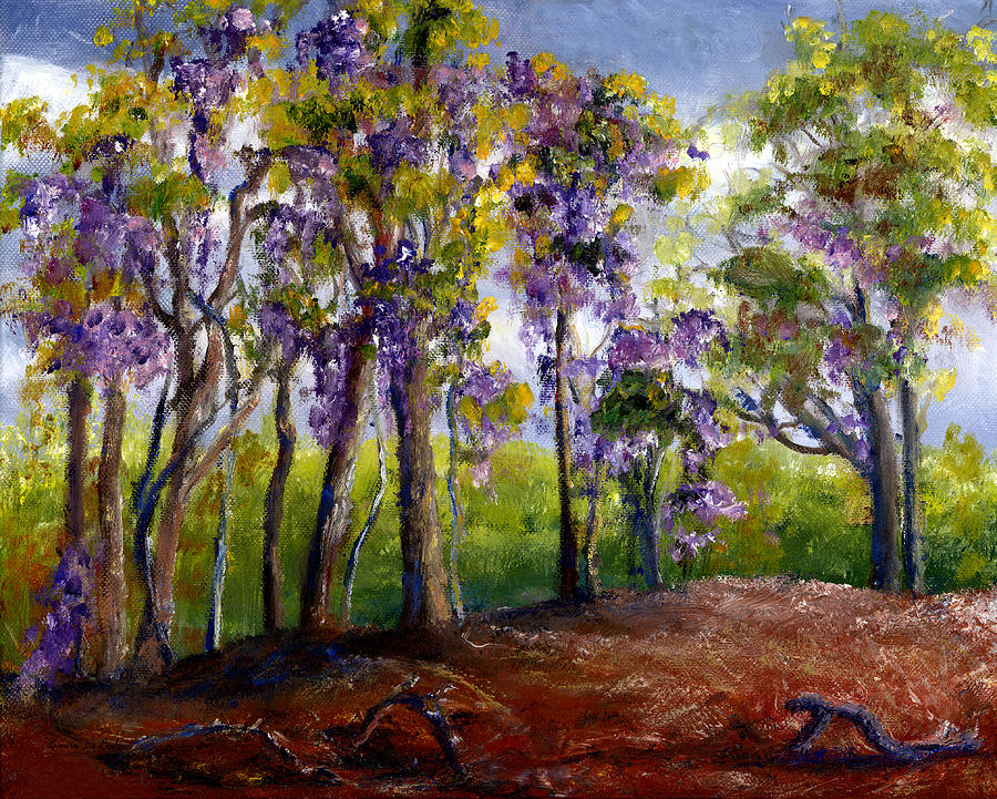 Wisteria In Louisiana Trees Painting