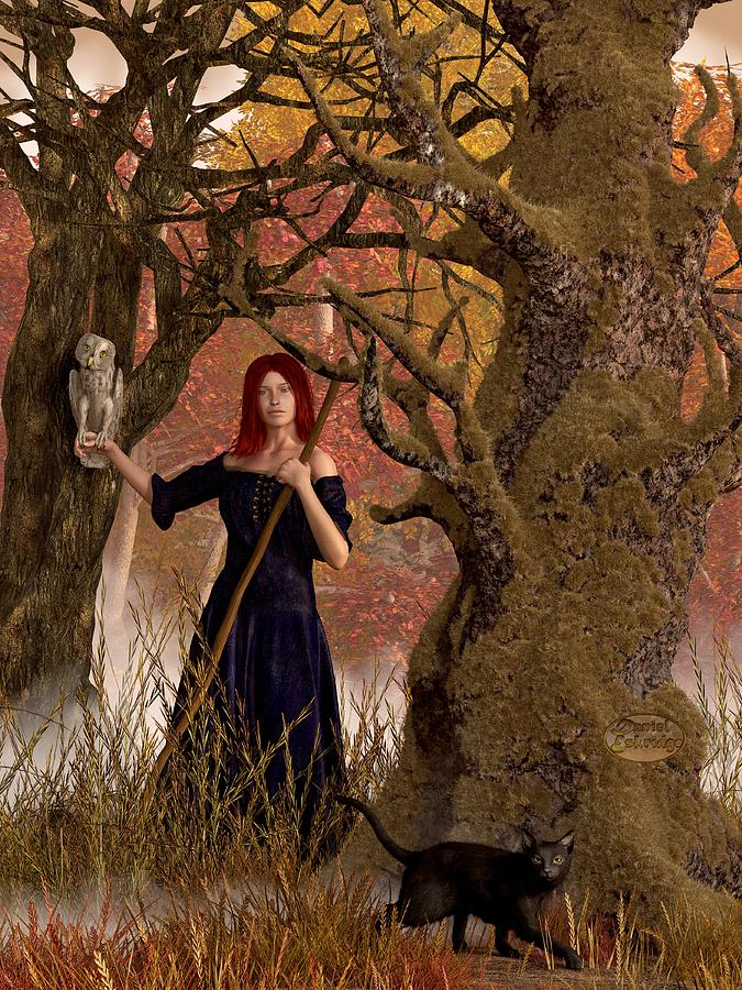 Witch Of The Autumn Forest  Digital Art  - Witch Of The Autumn Forest  Fine Art Print