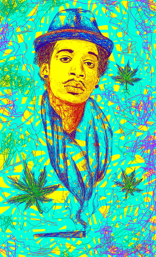 Wiz Khalifa Drawing In Line Drawing  - Wiz Khalifa Drawing In Line Fine Art Print