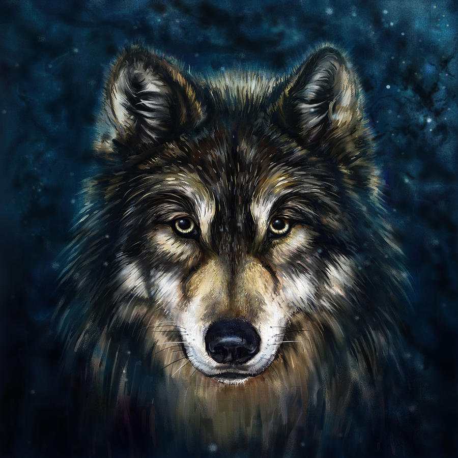Wolf Head Painting by Marcin Moderski