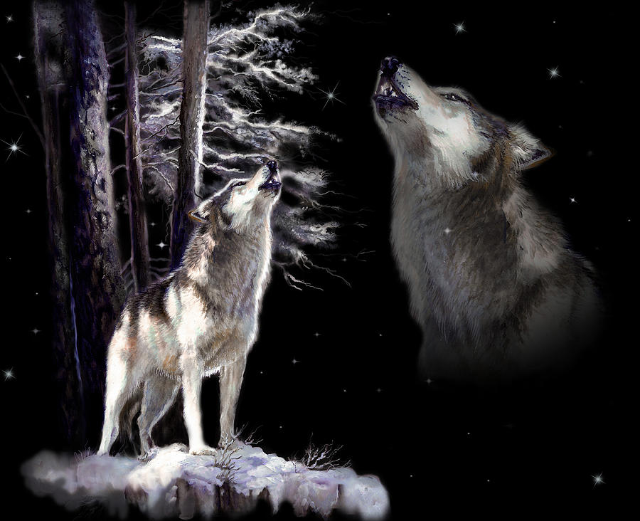 Wolf  Howling Memory Painting