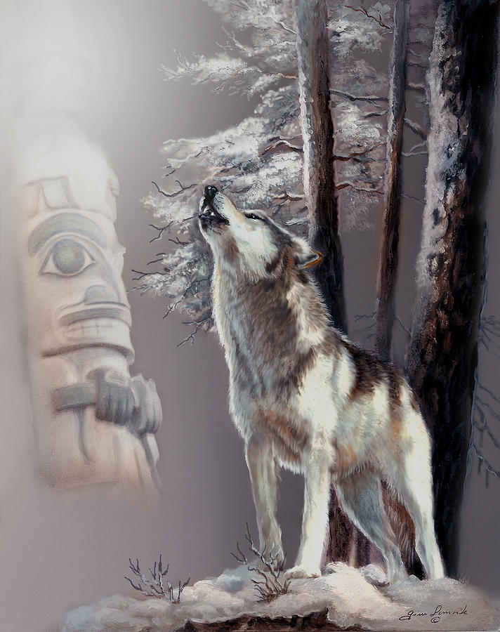 Wolf In The Shadow Of The Native Culture Painting  - Wolf In The Shadow Of The Native Culture Fine Art Print