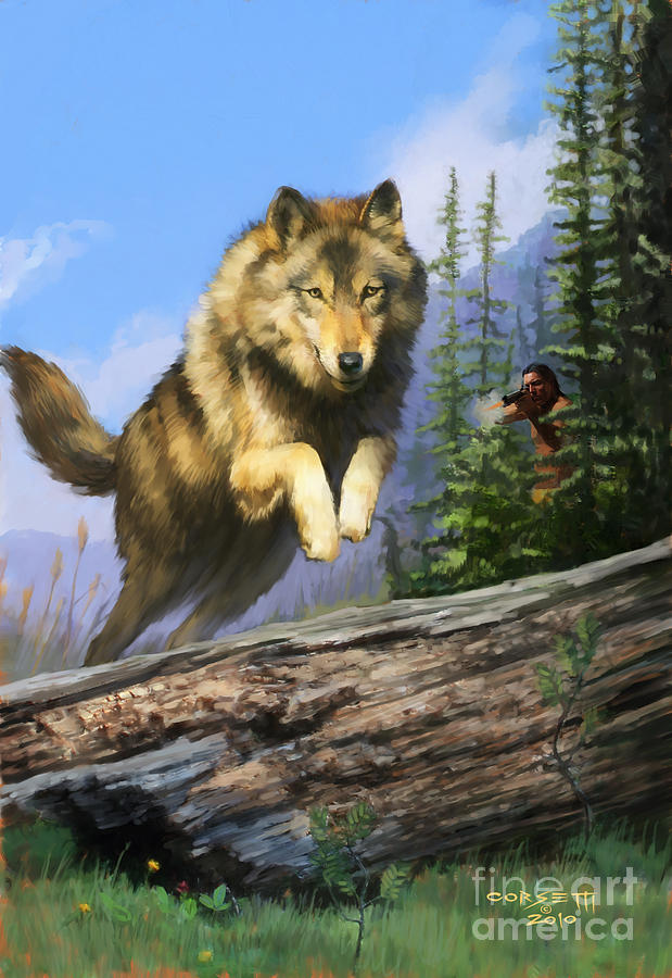 Wolf Painting - Wolf Run Indian Hunter by Rob Corsetti