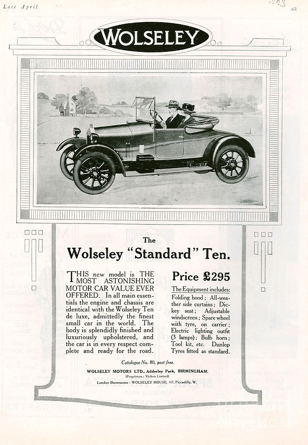 Wolseley 1923 1920s Usa Cc Cars Drawing  - Wolseley 1923 1920s Usa Cc Cars Fine Art Print