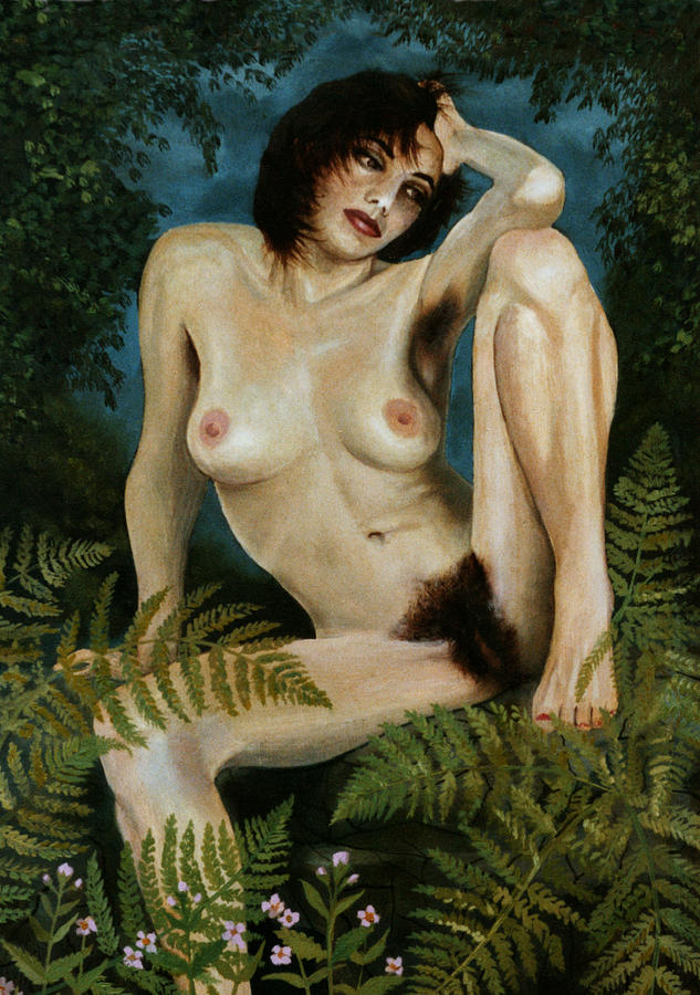 Woman And Ferns Painting