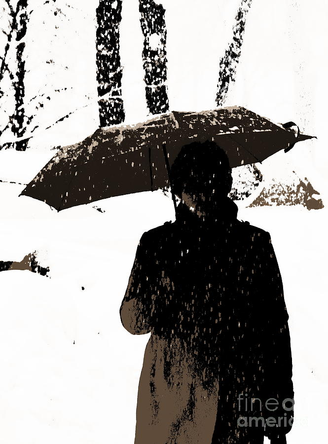 Woman And Rain Digital Art