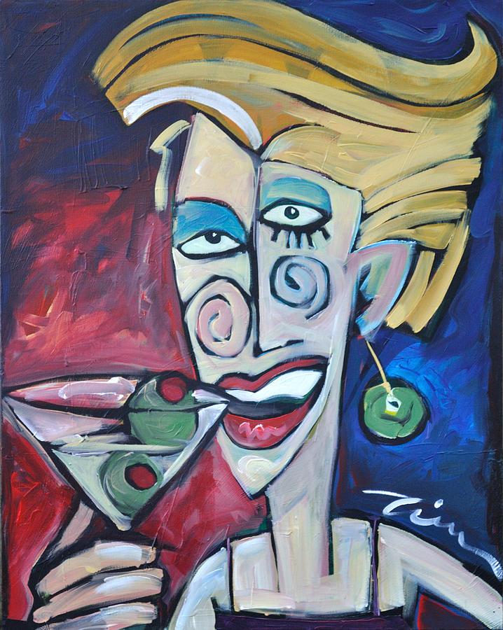 Woman At Martini Bar Painting