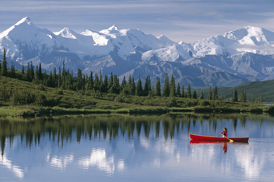 Alaska Photograph - Woman Canoeing In Wonder Lake Alaska by Michael DeYoung