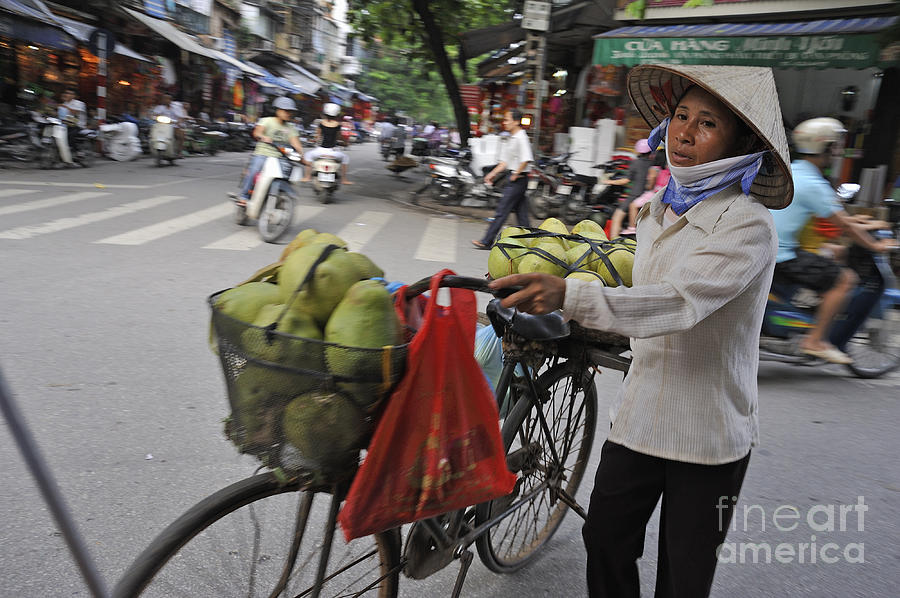 Woman Carrying Fruit On Bike Photograph  - Woman Carrying Fruit On Bike Fine Art Print