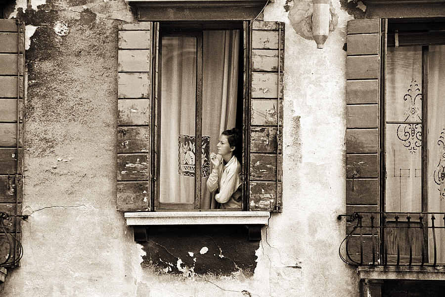 Female Painting - Woman Gazing Out Of A Window Contemplating by Stephen Spiller