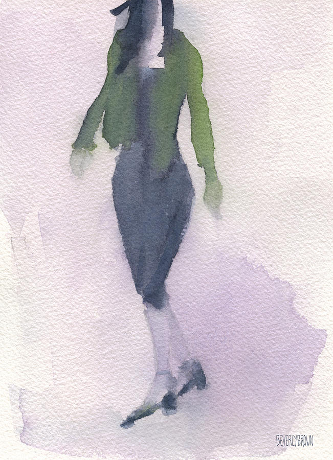 Woman In A Green Jacket Fashion Illustration Art Print Painting  - Woman In A Green Jacket Fashion Illustration Art Print Fine Art Print