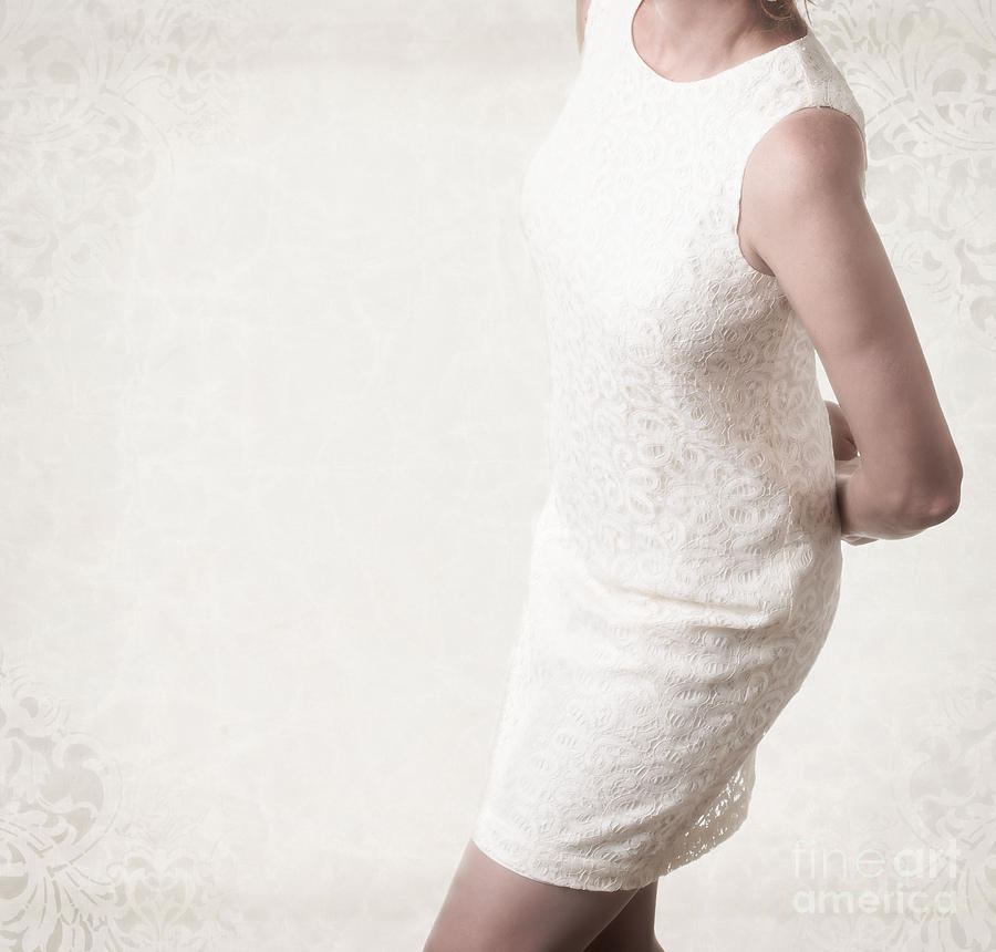 Woman In Lace Dress Photograph