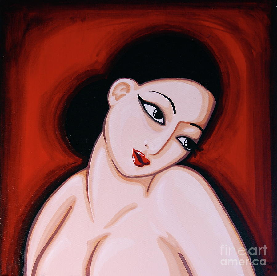 Woman In Red Painting  - Woman In Red Fine Art Print