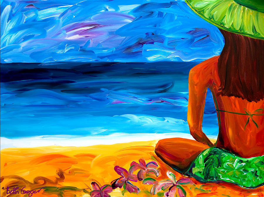 Woman On Beach Painting