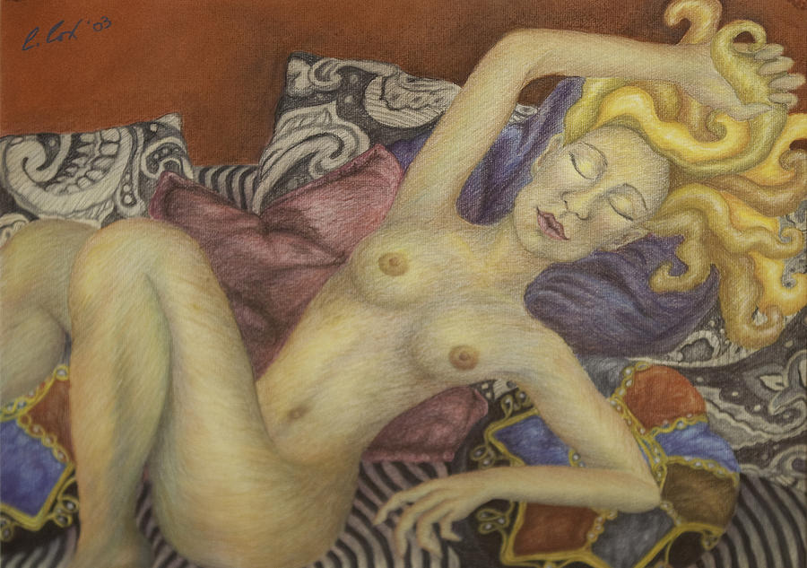 Nude Painting - Woman On My Couch by Claudia Cox