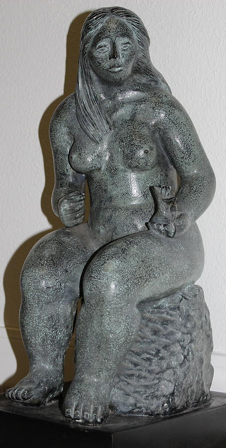 Woman On Rock Sculpture