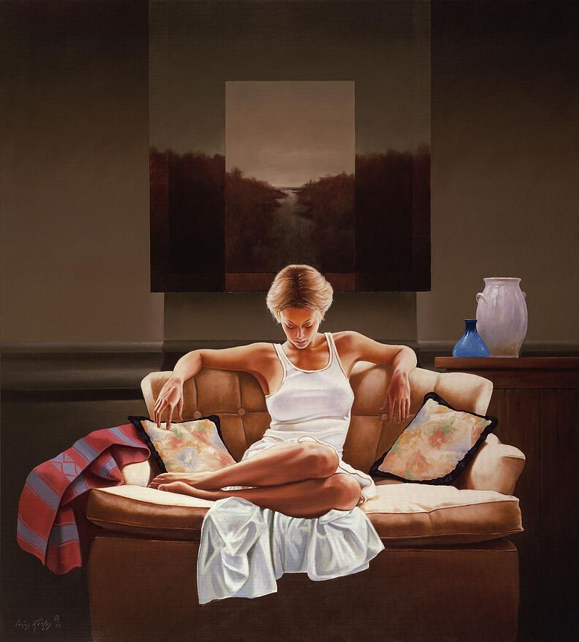 Woman On Sofa Painting By Carlos Reales