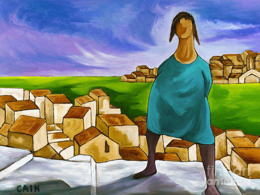 Woman On Village Steps Painting