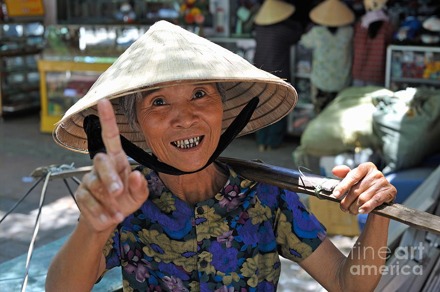 Woman Portrait At Market In Hue Photograph  - Woman Portrait At Market In Hue Fine Art Print