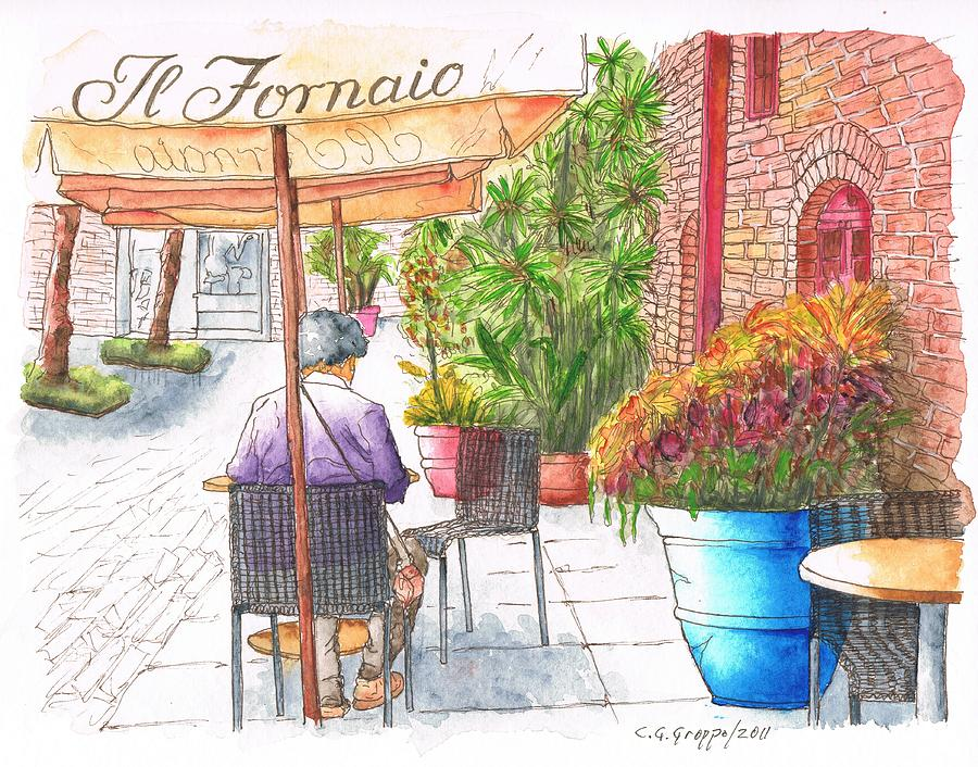 Woman Reading A Newspaper In Il Fornaio - Pasadena - California Painting