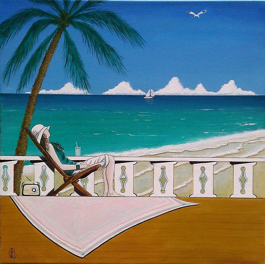 Woman Sitting In Deck Chair Basking In The Tropical View Painting  - Woman Sitting In Deck Chair Basking In The Tropical View Fine Art Print