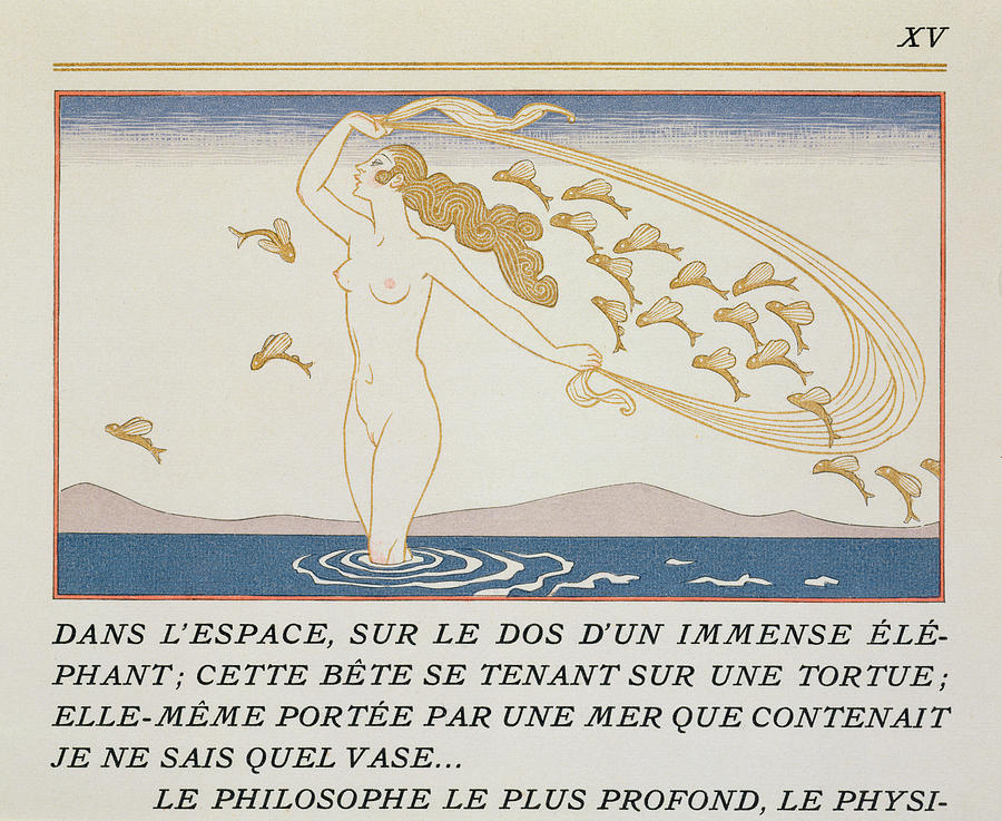 Female Painting - Woman Wading Through Water by Georges Barbier