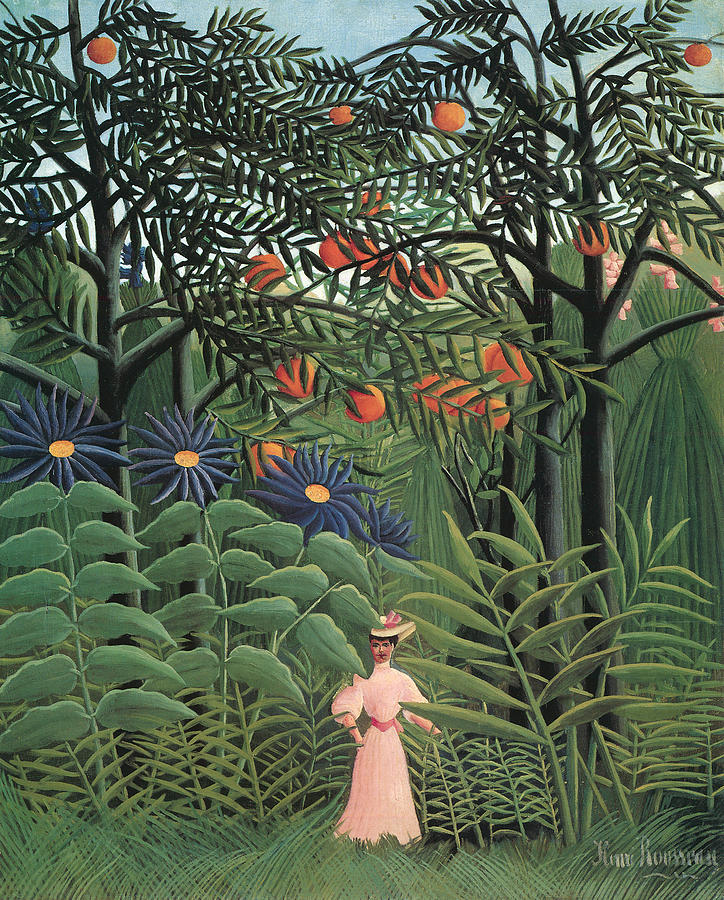 Woman Walking In An Exotic Forest Painting