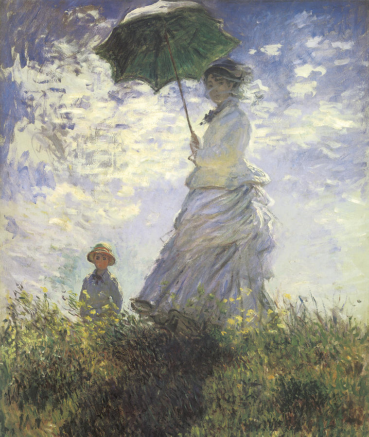 Woman With A Parasol Painting - Woman With A Parasol by Claude Monet