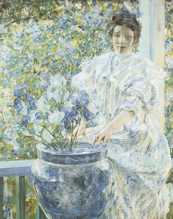 Woman With A Vase Of Irises Painting