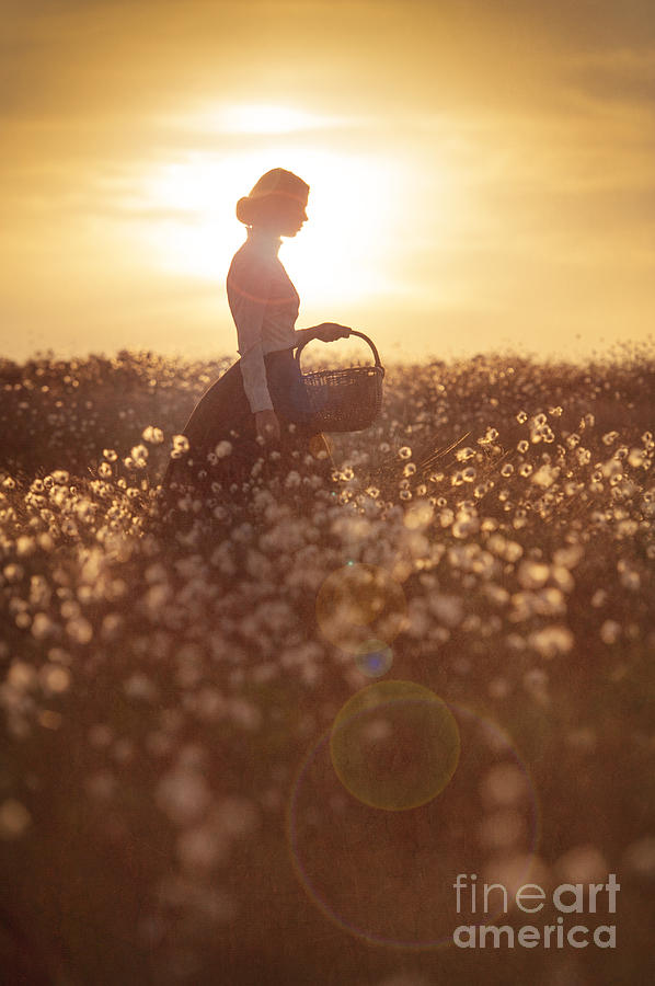 Edwardian Photograph - Woman With A Wicker Basket At Sunset by Lee Avison