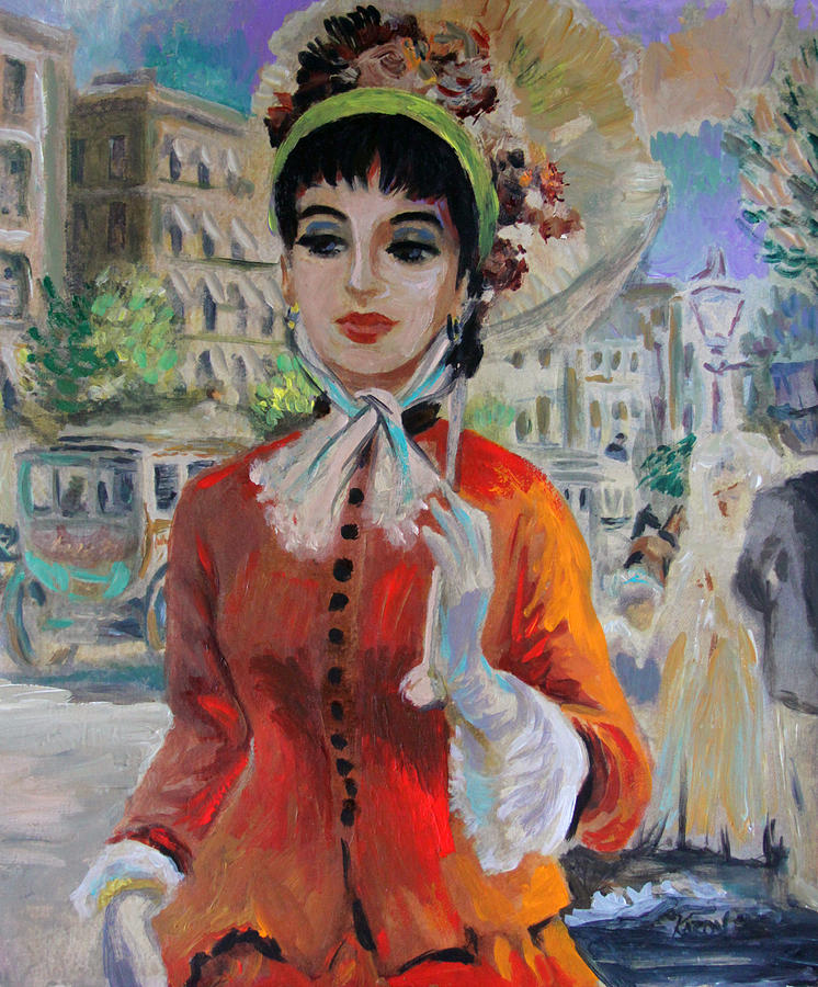 Woman With Parasol In Paris Painting