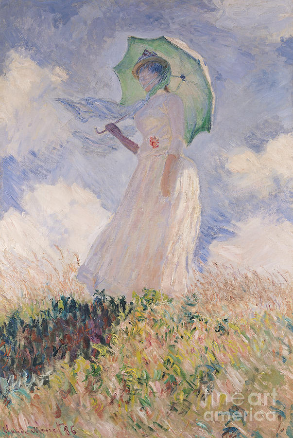 Woman With Parasol Turned To The Left Painting