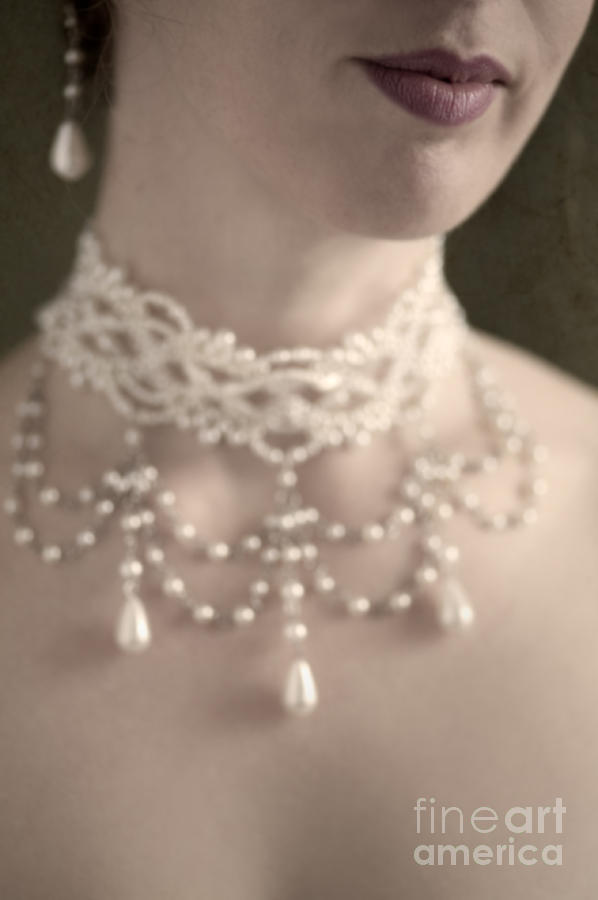 Woman With Pearl Choker Necklace Photograph  - Woman With Pearl Choker Necklace Fine Art Print