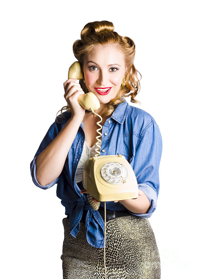 Woman With Retro Telephone Photograph