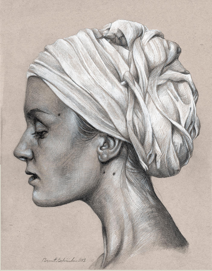 Woman With Turban Graphite Portrait Drawing  - Woman With Turban Graphite Portrait Fine Art Print