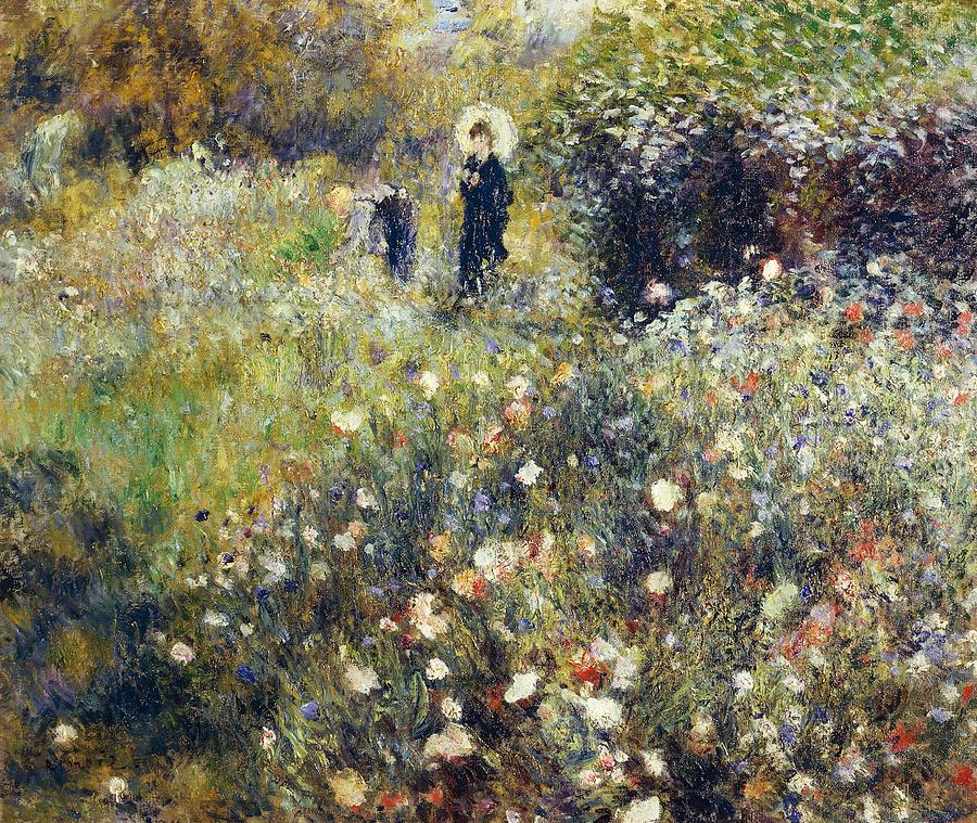 Woman With Umbrella In Garden Painting