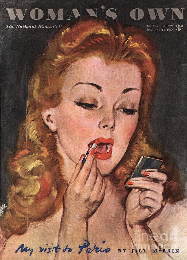 Woman�s Own 1945 1940s Uk Make-up Drawing