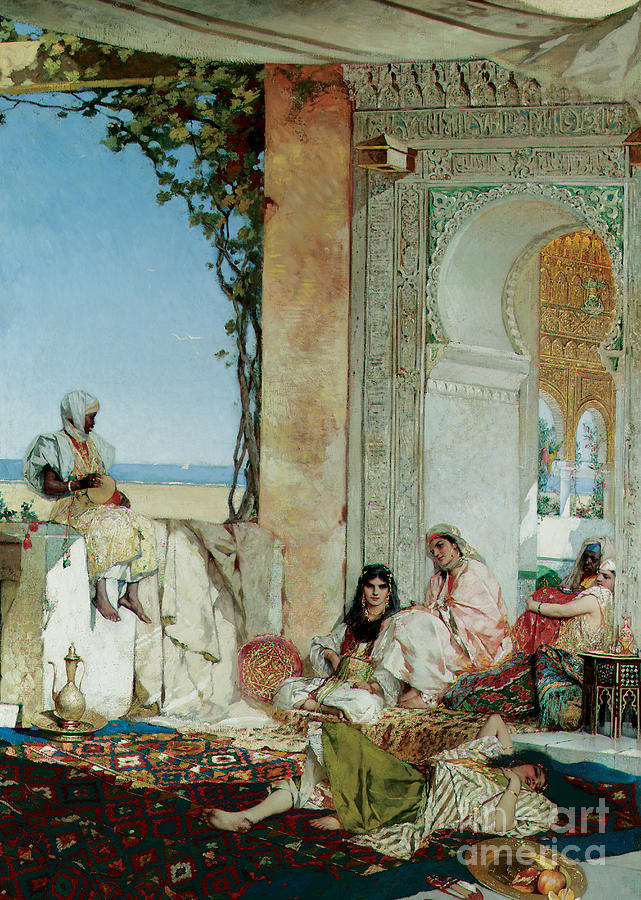 Orientalist; Oriental; Exotic; Moorish; Morocco; Moroccan; North Africa; North African; Women; Harem; Concubine; Concubines; Odalisque; Odalisques; Interior; Terrace Painting - Women Of A Harem In Morocco by Jean Joseph Benjamin Constant
