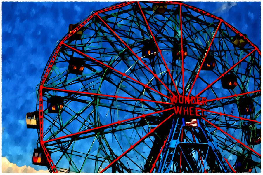 Wonder Wheel At The Coney Island Amusement Park Painting