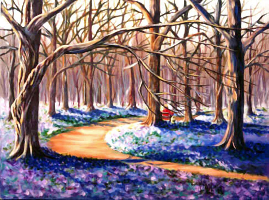 Wood Scene With Spring Crocus Fields Painting  - Wood Scene With Spring Crocus Fields Fine Art Print