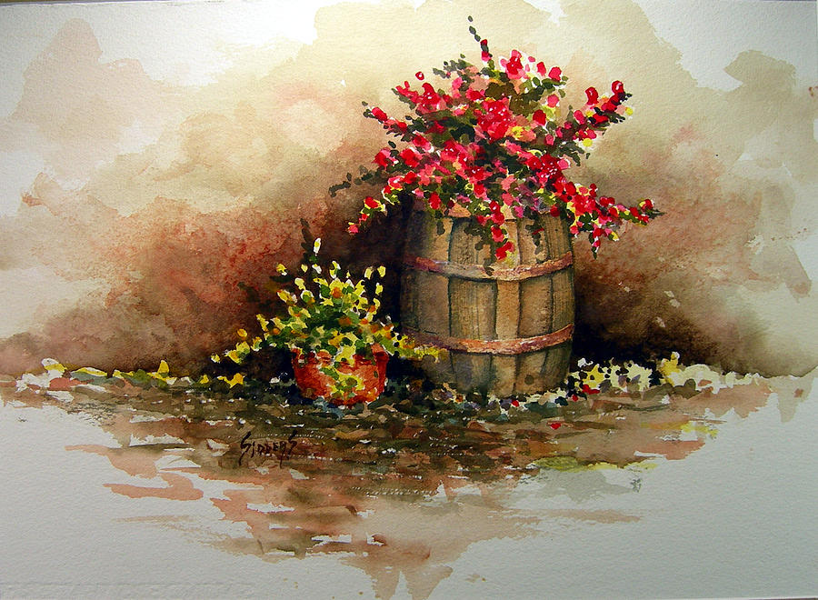 Wooden Barrel With Flowers Painting