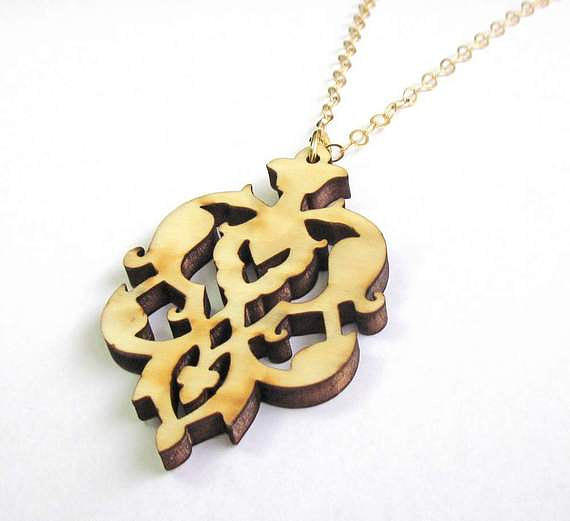 Wooden Floral Pendant Necklace Jewelry