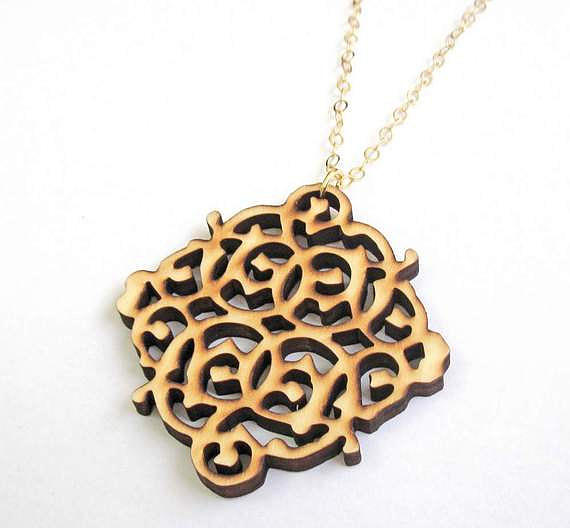 Wooden Lace Pendant Necklace Jewelry