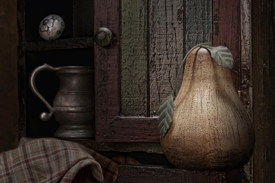 Wooden Pear Still Life Photograph  - Wooden Pear Still Life Fine Art Print
