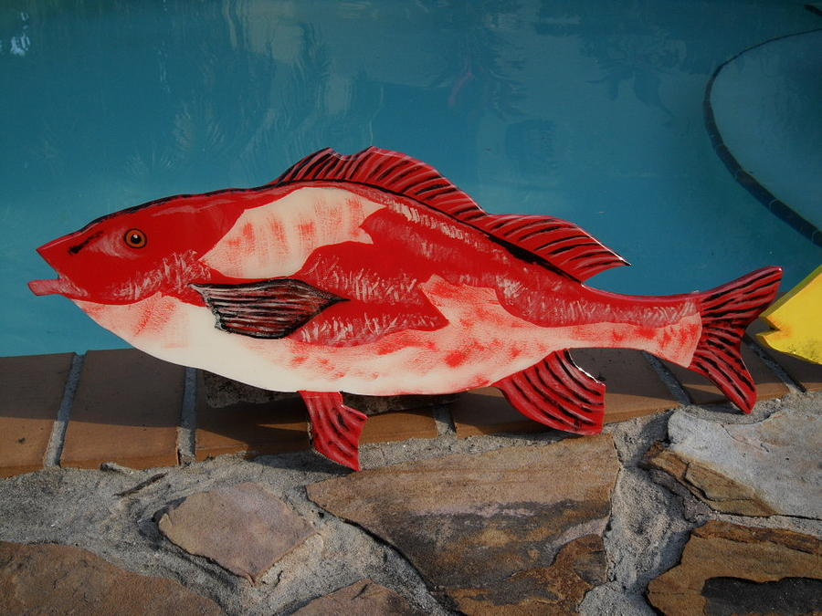 Wooden Red Snapper Mixed Media