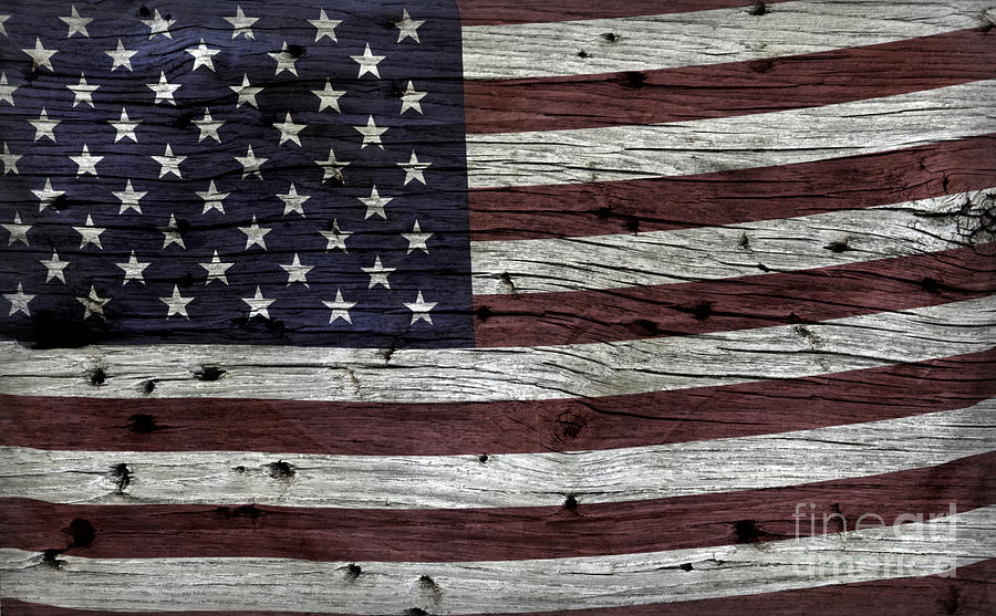 Wooden Textured Usa Flag3 Photograph  - Wooden Textured Usa Flag3 Fine Art Print