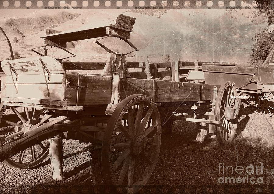 Wooden Wagon Sepia 3 Mixed Media  - Wooden Wagon Sepia 3 Fine Art Print