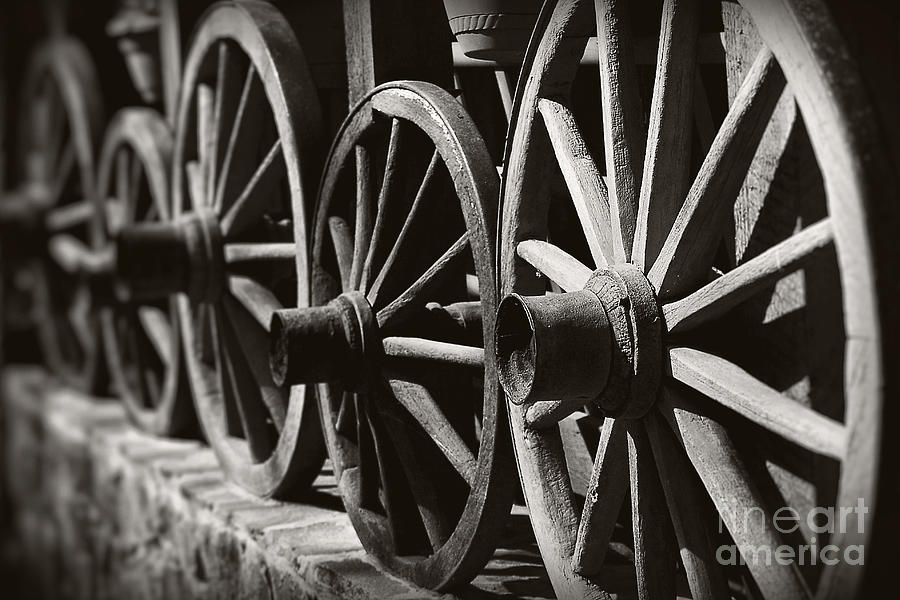 Wooden  Wagon Wheels Photograph  - Wooden  Wagon Wheels Fine Art Print